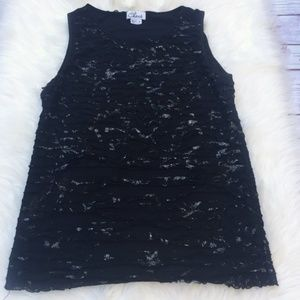 Chaus Black Ruffle Tier Lace Silver Blouse Top S